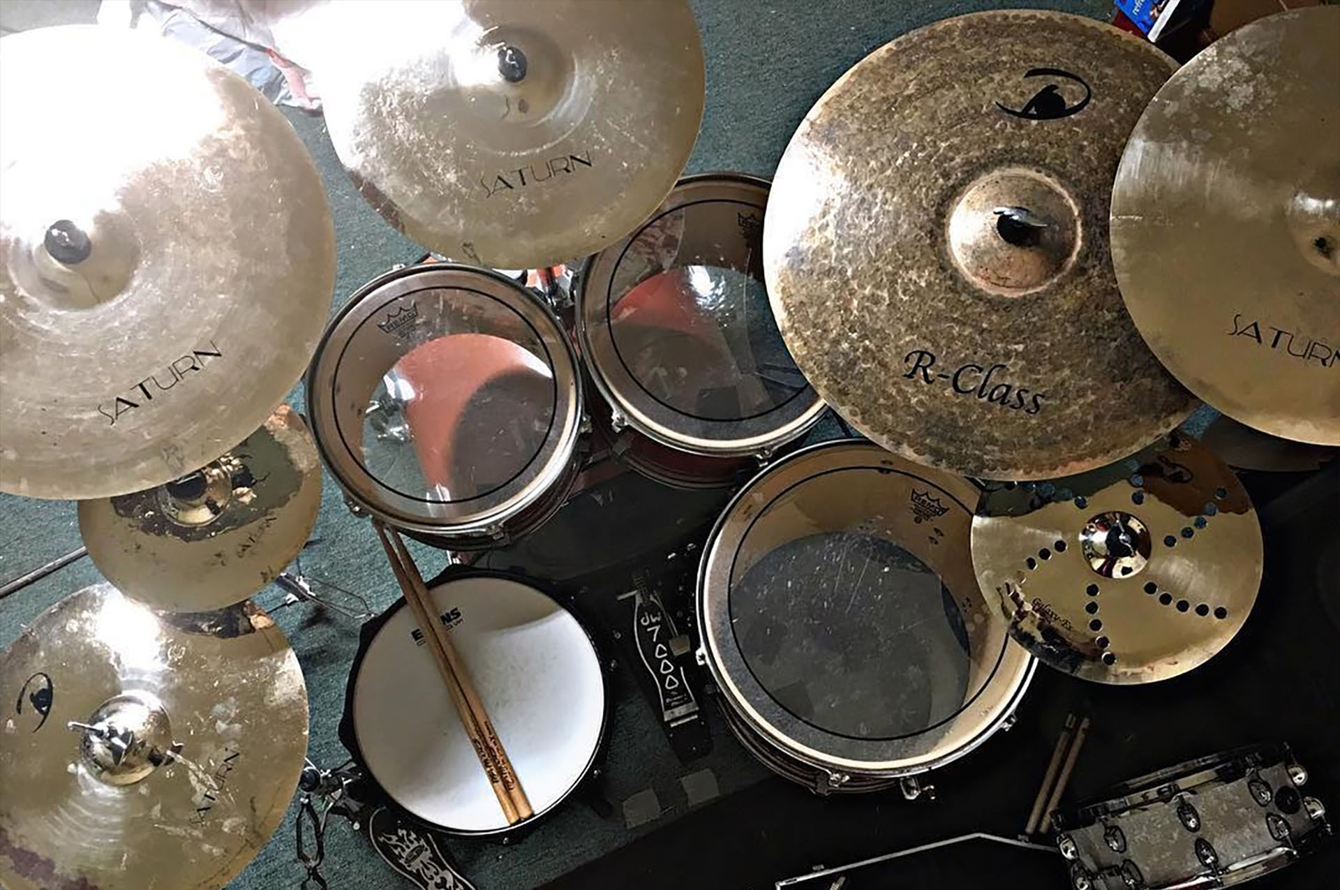 Domain Cymbals drum set up